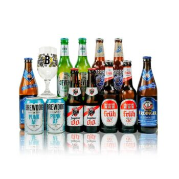 Alcohol Free Mixed Beer Case Non Alcoholic Beer with Glass (12 Pack)