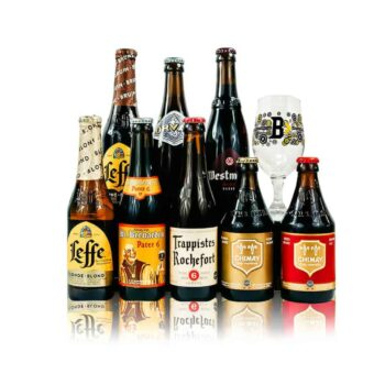Belgian Best of Trappist Ales Mixed Beer Case with Chimay Glass (8 Pack)