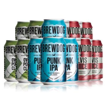 Brewdog Mixed Case Cans Gift Pack – Punk IPA, Dead Pony Club & Elvis Juice (12 Pack)