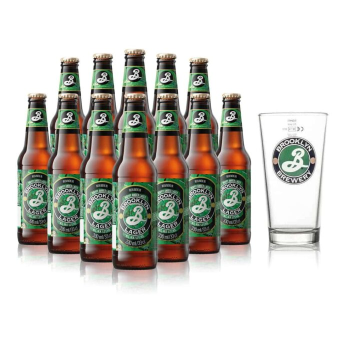 Brooklyn Amber Lager with Half Pint Glass (12 Pack)