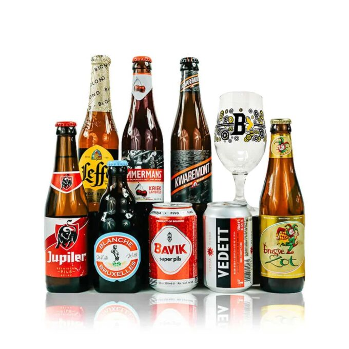 Belgian Breweries Beer Mixed Case with Glass (8 Pack)