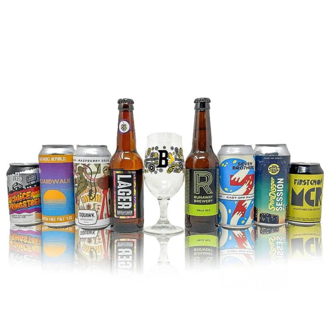 Manchester Breweries Craft Beer Mixed Case with Glass (8 Pack)