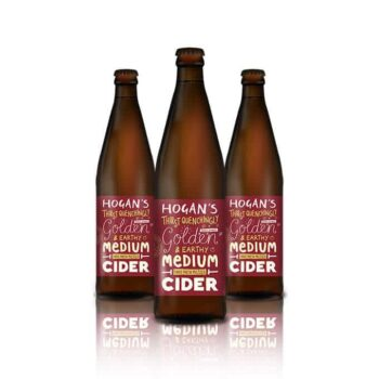 Hogan's Cider just let the natural flavour of their fermented cider apples speak for themselves. Naturally medium sweetness cider.