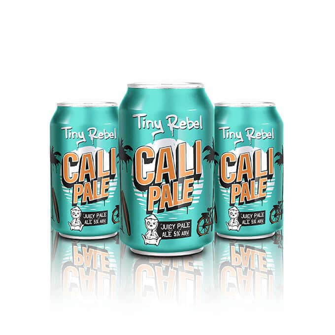 This Tiny Rebel Cali Pale Ale is a beer suitable for sitting on the beach in the Californian sun.This juicy Cali Pale Ale plays on classic tropical and pine flavours, with a relaxed mango twist.
