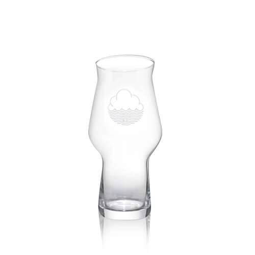 Cloudwater's signature craft master glass. With white printed Cloudwater Logo which perfectly holds one of their 440mlcan.