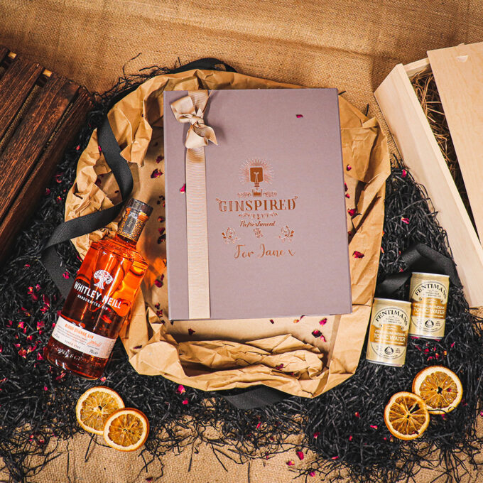 Personalised Whitley Neill Blood Orange Gift Box Embossed Rose Gold with Fentimans Tonics 70cl - 43% ABV