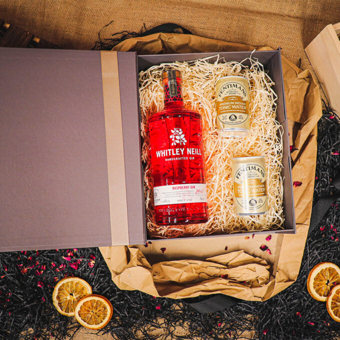 Personalised Whitley Neill Raspberry Gin Gift Box Embossed Rose Gold with Fentimans Tonics 70cl - 43% ABV