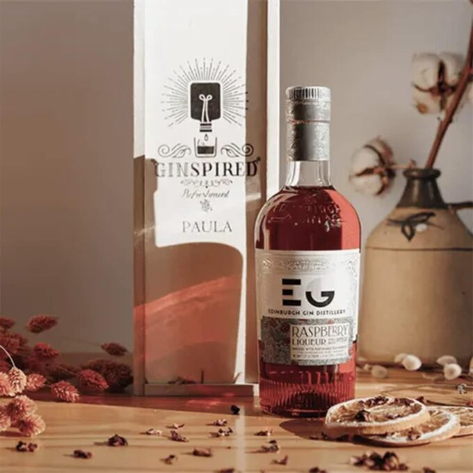 Personalised Wooden Gift Box with Edinburgh Raspberry Gin Liqueur