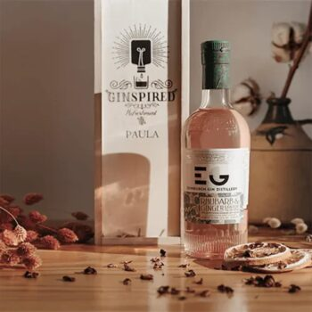 personalised wooden gift box with edinburgh rhubarb and ginger gin liqueur