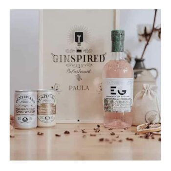 Personalised Wooden Gift Box with Edinburgh Rhubarb & Ginger Gin Liqueur