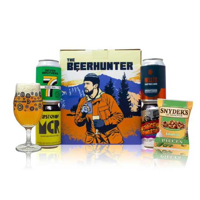 Limited Edition Brian Cannon Designed Manchester Craft Beer 4 Can Gift Pack with Glass