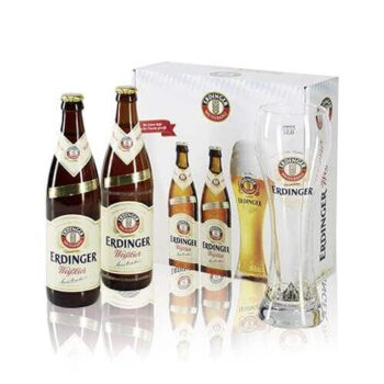 Erdinger Weisbier & Branded Pint Glass Gift Pack. Full-bodied yet elegant character leaves a lasting impression of Bavarian enjoyment.