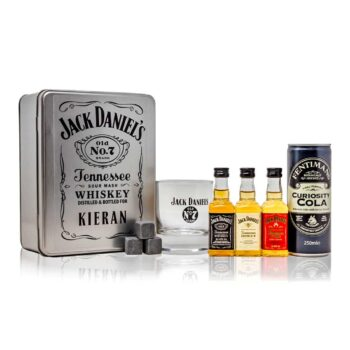 Jack Daniels Personalised Gift Box with Official branded glass and whisky stones making this perfect gift for Jack Daniels lovers.