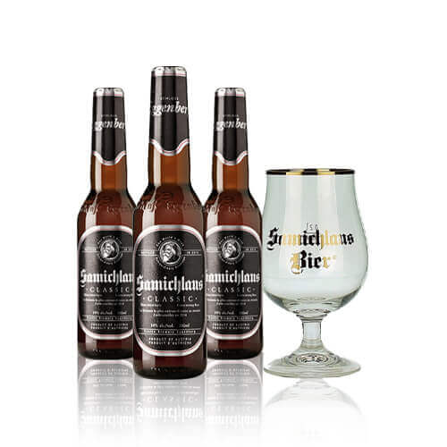 This is the season to be jolly with the Limited Edition Beer Set made up of three Schloss Eggenberg Samichlausbeersand a Samichlaus glass.