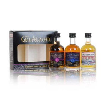 This GlenAllachie gift set offers miniatures of their 10 year old and 12 year old expressions as well as a glorious MacNair's Lum Reek.