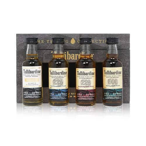 Behold, the Tasting Collection from Tullibardine! This shiny gift set includes four 5cl miniatures from the Highland distillery.