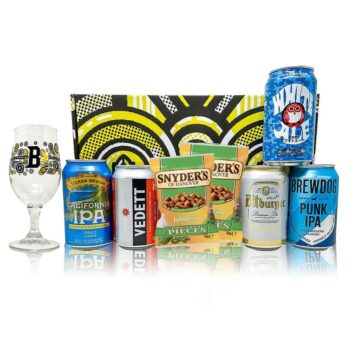 World Craft Beer 5 Can Gift Pack with Glass and 2 Snyder's Pretzel Bites