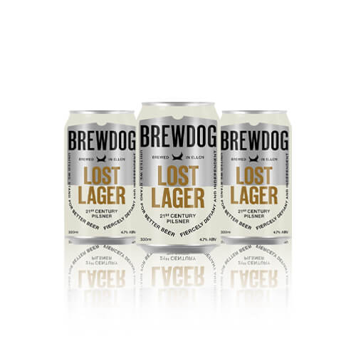 Lost Lager is a 4.7% dry hopped Pilsner made with classic German hops showcasing vibrant citrus notes for a clean, crisp taste.