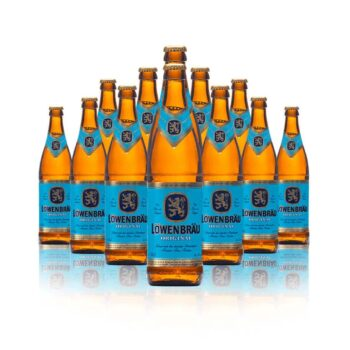 Löwenbräu Original German Helles Lager 500ml Bottles. The distinctive golden lion against a blue background is a hallmark of one of the...