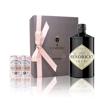 Hendricks Gin in Personalised Engraved Rose Gold Grey Box Gift Set with Tonics