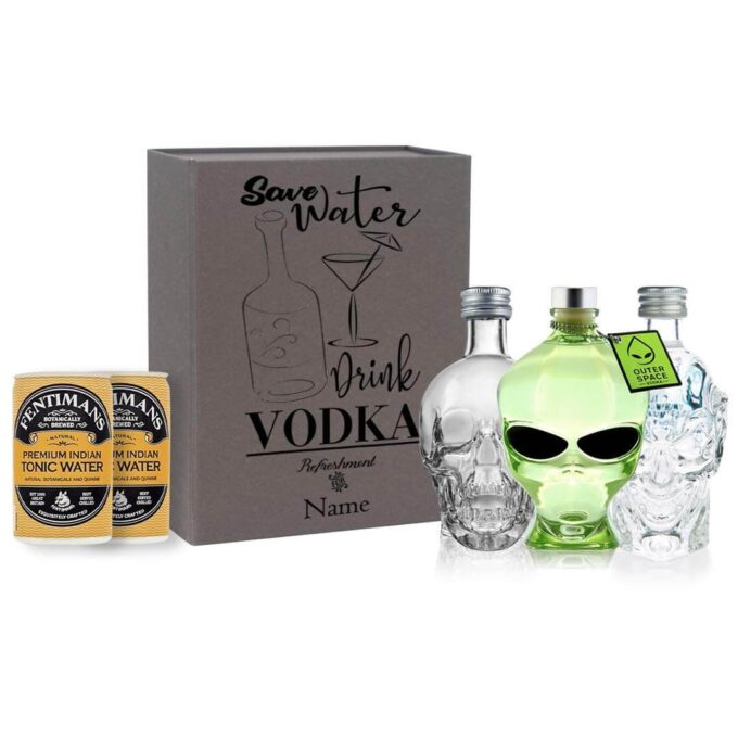 Personalised Vodka Miniatures Horror Edition Gift Set with Fentimans Tonics