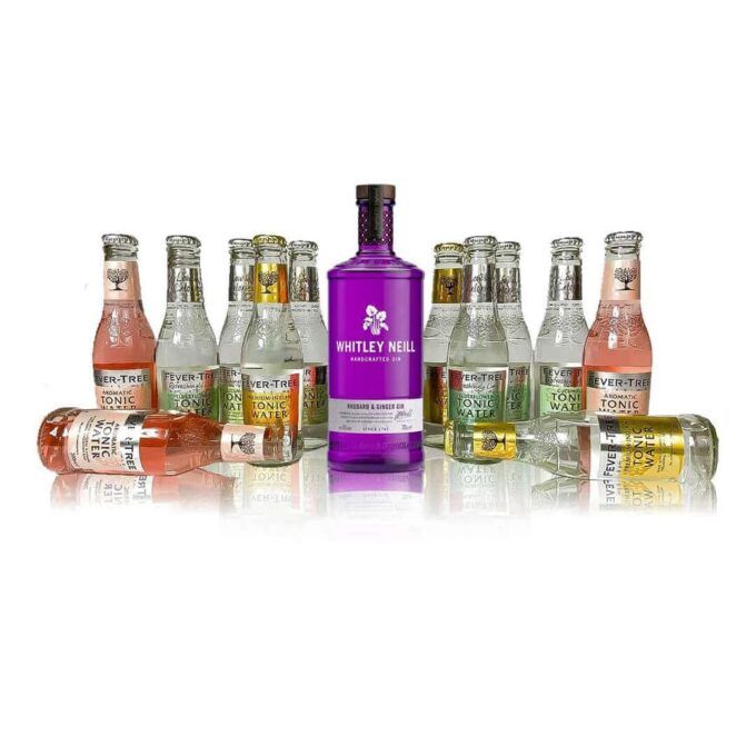 This Premium Whitley Neill and Fever-tree Gin & Tonic Kit contains a 70cl bottle of Rhubarb & Ginger Gin as well as 12 fever tree tonics.