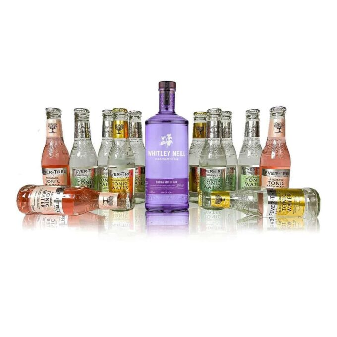 This Premium Whitley Neill and Fever-tree Gin & Tonic Kit contains a 70cl bottle of Parma Violet Gin as well as 12 fever tree tonics.