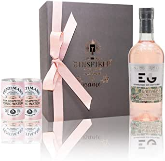 Personalised Edinburgh Rhubarb and Ginger Gin Liqueur in Engraved Rose Gold Luxury Grey Box Gift Set