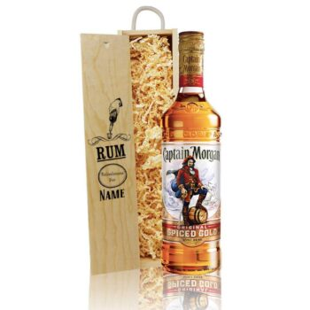 Personalised Captain Morgans Spiced Rum Gift Set in a Wooden Box (70cl)