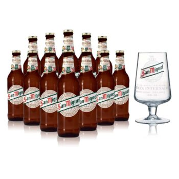 San Miguel Especial Lager 330ml Bottles (12 Pack) with Glass