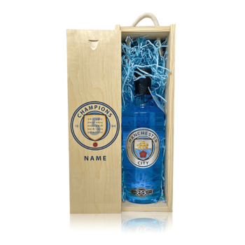 Personalised Manchester City Blue Raspberry Vodka Champions Gift Set
