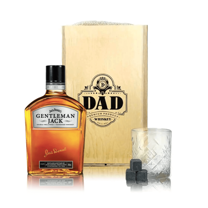 Gentleman Jacks Fathers Day Gift with Rocks Glass & Whiskey Stones