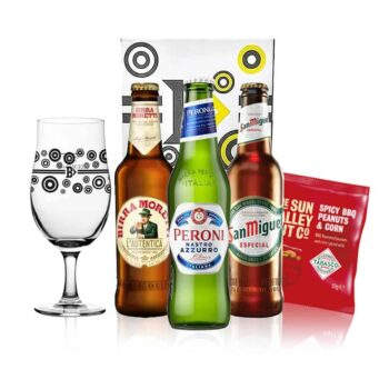 Premium European Lager Gift Pack with Official Beerhunter Glass (San Miguel, Peroni, Birra Moretti)