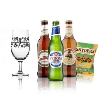 Premium European Lager Gift Pack with San Miguel Pint Glass (San Miguel. Peroni, Birra Moretti)