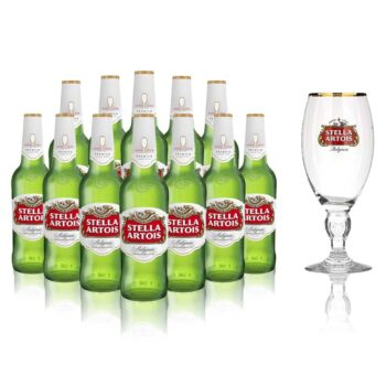 Stella Artois Belgian Lager 330ml Bottles with Official Pint Glass (12 Pack)