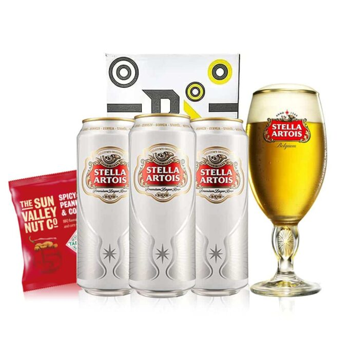 Stella Artois Premium Belgian Lager Pint Can Gift Set with Official Pint Glass (3 Pack)