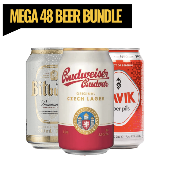European Lager Mega Bundle (Bitburger, Budvar, Bavik) Europe, renowned for producing some of the best beers from around the world. From Germany to Belgium, this mixed beer case (x48 cans) boasts some of the best beers. Having a BBQ, Garden Party or just a large gathering? This is the perfect mixed beer bundle case for you. Only £1.14 per can. x16 of each brand!