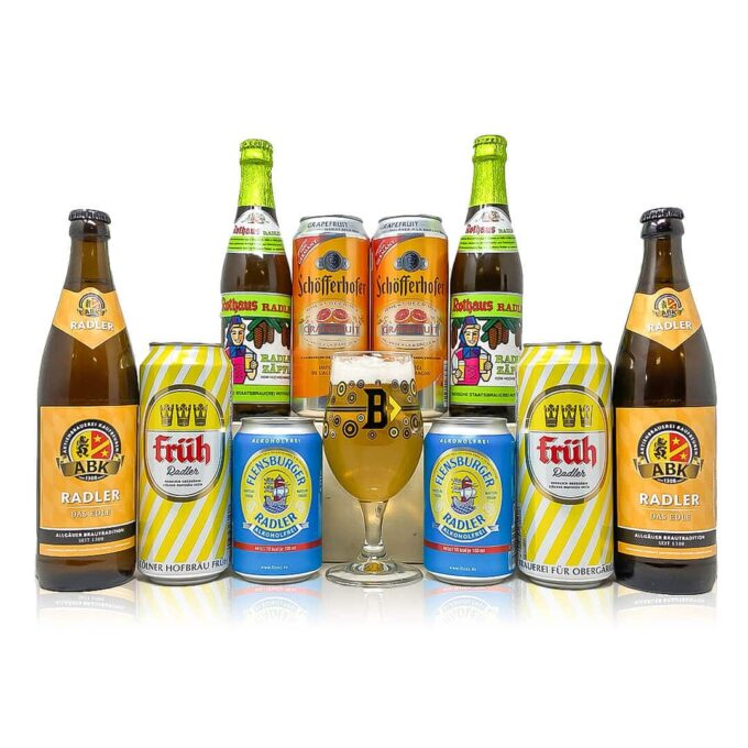 German Low Alcohol Radler Mixed Case with Official Beerhunter Glass (10 Pack)