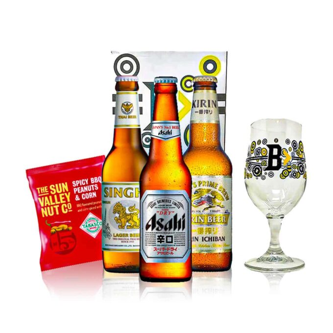 Introduction to Asian Breweries Gift Set with Beerhunter Glass (3 Pack)