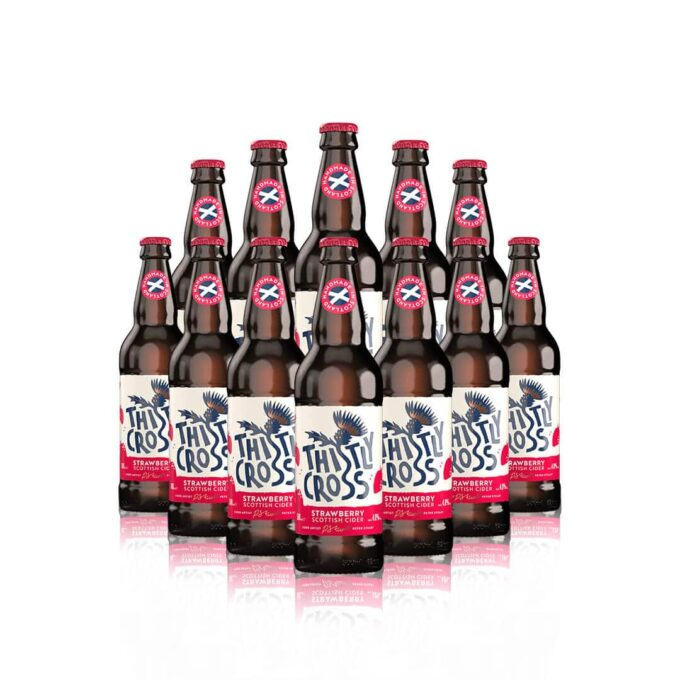 Thistly Cross Strawberry Craft Cider 500ml Bottles - 4.0% ABV (12 Pack)