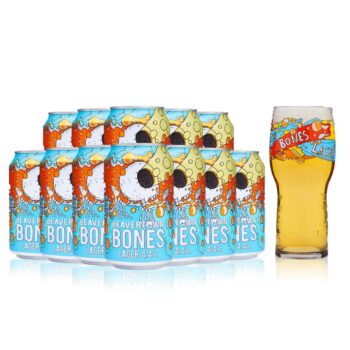Beavertown Bones Craft Lager 330ml Cans with Bones Pint Glass (12 Pack)