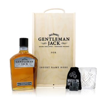 Personalised Gentleman Jack Gift Set with Whiskey Glass & Stones